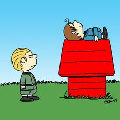 Hetalia Charlie Brown! Germany as Charlie Brown and North Italy as Snoopy. This is too cute