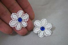 EARRINGS //  Blue Crystal Floral lace Earrings/ Stud by ilkcanArt