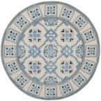 Bella Ivory/Blue 5 ft. x 5 ft. Round Area Rug