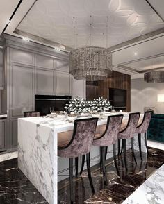 Get inspired by these luxury dining rooms and kitchen design ideas! Dining Room Table Chairs, Dining Room Sets, Dining Room Design, Luxury Kitchen Design, Luxury Kitchens, Interior Design Kitchen, Modern Kitchens, Room Interior, Küchen Design