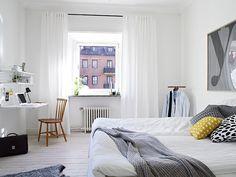 Swedish apartment (white grey yellow bedroom) - Stadshem