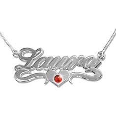 Silver Middle Heart  Swarovski Crystal  Name Necklace