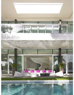 Interiors by Juan Poggi Photo By Carlos Domenech Outdoor Spaces, Outdoor Living, Outdoor Decor, Porches, Outdoor Water Features, Pool Fountain, Dream Pools, Tropical Houses, Modern Architecture
