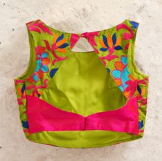Green Padded Silk Blouse with Bright Floral by Amoristudios