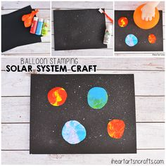 Balloon Stamping Solar System Craft For Kids - I Heart Arts n Crafts Space Crafts For Kids, Kids Crafts, Art For Kids, Arts And Crafts, Balloon Painting, Galaxy Painting, Planets Activities, Space Activities, Planet Crafts