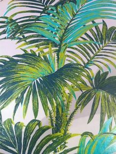 Florence Broadhurst was murdered at the age of still remains a mystery. The palm trees feel fresh and tropical. Love the cool colours tones. Palm Wallpaper, Tropical Wallpaper, Summer Wallpaper, Art Tropical, Tropical Flowers, Vintage Wallpaper Patterns, Pattern Wallpaper, Deco Jungle, Florence Broadhurst