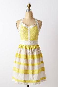 Yellow striped apron