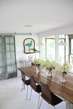 love the salvaged sliding doors