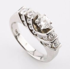 14K White Gold Round Brilliant Diamond Engagement Ring w/ Diamond Accents Size 7 #SolitairewithAccents