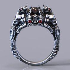 Devil Ring - RS005000007 - 5 ring sizes 3D STL   3D Print Model