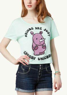 Chubby Unicorn Crop Tee | Graphic Tees | rue21