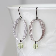Silver Flat Circle and Lemon Glass Dangle Earrings by YuniDesigns