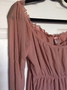 Sweet Pea Soft Pink Off Shoulder Ruffle Semi Sheer Long Sleeve Nylon Blouse Sz M
