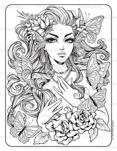 Monarch Adult Coloring Page Drawing Sketches, Art Drawings, Coloring Book Pages, Copics, Line Art, Fantasy Art, Character Design, Artwork, Etsy