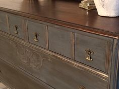 After last week's post I received a lot of feedback regarding the stained  top feature of the dresser. I agree with all the comments;I think staining  the top adds an element of richness to a piece and gives it a bit more of a  sophisticated look. And being the sophisticated lady that I am, a stained  top is right up my alley! (I can just hear all the sarcastic comments being  made right now). Anyways, I want to share a couple more projects I've been  working on with stained tops. I'll…