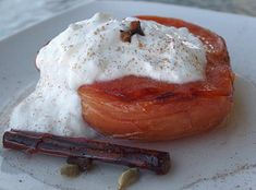 baked Quince in syrup of cinnamon, cardamom and cloves served with Greek Yogurt Greek Sweets, Homemade Sweets, Greek Yogurt, Camembert Cheese, Mashed Potatoes, Cinnamon, Pudding, Cream, Baking
