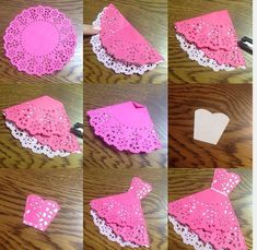 56 New Ideas for origami dress card weddings Paper Doily Crafts, Doilies Crafts, Paper Doilies, Diy Paper, Paper Art, Diy And Crafts, Crafts For Kids, Arts And Crafts, Origami Vestidos