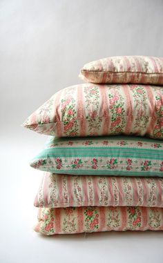 girlyme:  Set of 5 vintage Ticking Feather and Down Pillows by shopgoodgrace
