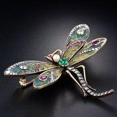 Art Nouveau dragonfly plique-a-jour brooch, 1900