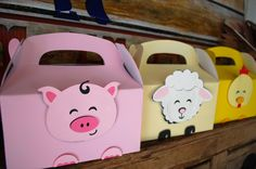 Farm Birthday Party- Farm Animal Handmade Favor/Treat Boxes from Silhouette- Filled them with Farm Stickers, Farm Tattoos and Farm themed Rubber Duckies from Oriental Trading Company