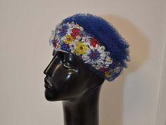 50s hat /  The Net Of Love Vintage 1950's Rhinestoned Flower Hat