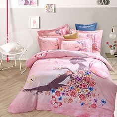 MAXYOYO Home Textiles Sanded Cotton Beautiful Girl with Butterfly Pink Bedding Set Full Size4Pcs ** Want additional info? Click on the image.