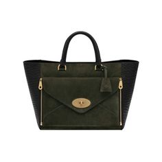 Mulberry - Willow Tote in Black Shrunken Calf & Evergreen Suede