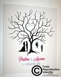 ARBREMEPREINTEPAULINEMAXIME Wedding Tree Guest Book, Guest Book Tree, Card Box Wedding, Tree Wedding, Diy Wedding, Family Tree Art, Pyrography Patterns, Doodle Drawings, Tree Drawings