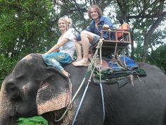 Sexy Woman riding bareback on an Elephant in the Jungle/Sexy Frau reitet ohne Sattel auf einem Elefant im Dschungel .