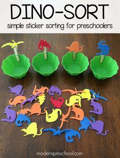 Dinosaur foam sticker sorting activity for toddlers & preschoolers | Modern Preschool