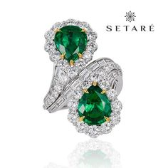 A perfect bypass emerald and diamond ring by Setare'.