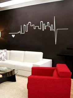 75 Wall stencils: Best ideas - Home Design Ideas Bedroom Wall, Bedroom Decor, Wall Decor, Wc Decoration, Wall Design, House Design, Room Wall Painting, Tape Art, Living Room Decor