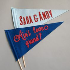 Send them away to happily-ever-after with a wave from a custom pennant.