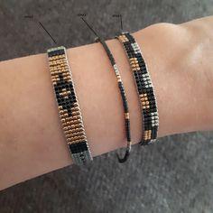 Black Miyuki Beaded Bracelet for women Miyuki beads bracelet for her Jewelry gift for her Handmade Jewelry Delicate beadsAdams Jewels Loom Bracelet Patterns, Bead Loom Bracelets, Gold Bracelets, Beading Patterns, Bracelet Designs, Beading Ideas, Beading Supplies, Colorful Bracelets, Loom Patterns