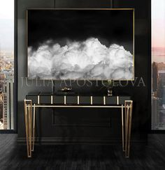 80'', Clouds Painting, Black White Art, Minimalist Canvas, Dark Wall Art, Trendy Gift for Him & Perfect Modern Minimalist Interior Art Decor