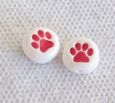 Paw Print Beads Handmade from Polymer Clay by BarbiesBest on Etsy, $3.00