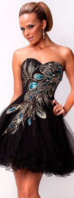 Black & Gold Embroidered Sweetheart Tulle Dress