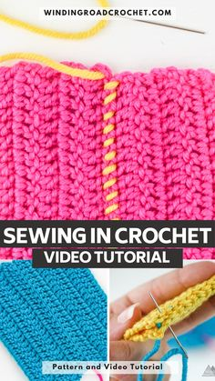 Learn to sew crochet pieces together using three different Stitches. Types Of Stitches, Different Stitches, Crochet Game, Free Crochet, Crochet Stitches For Blankets, Crochet Videos, Crochet Squares, Learn To Sew, Crochet Projects