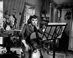 Love in the Afternoon - Audrey Hepburn as a Cello student.