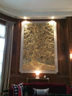 3-D wall installation in gold leaf and Verdigri, 'Grand old Tree' for site specific installation.