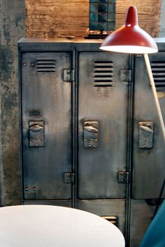 Vintage Industrial Decor industrial decor - Creative ideas in crafts and upcycled, innovative, repurposed art and home decor. Industrial Chic, Industrial Lockers, Metal Lockers, Industrial Storage, Vintage Industrial Furniture, Industrial Living, Industrial Interiors, Industrial Design, Industrial Decorating