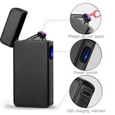 Windproof USB Touch Dual Arc Electric Lighters Pulse Plasma Cigarette Lighter L