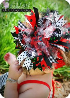 Cherry Gingham Over-the-top HAIR BOW with customizable initial center via Etsy