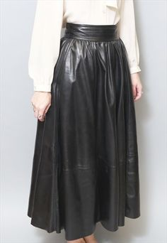 Vintage+1980's+Jet+Black+Soft+Leather+Maxi+Skirt