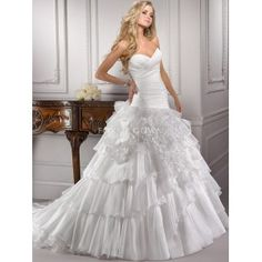 Crystal Organza Ball Gown with Asymmetrically Ruched Bodice Soft Airy Layers and Folds