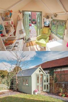 64 Super ideas craft room she shed sewing Super ideas craft room she shed sewing spaces craft sewingShe Shed - Guest Room, Craft Room, Office Sewing Spaces, Sewing Rooms, Sewing Art, Tiny Sewing Room, Shed Images, Deco Pastel, Shed Interior, Interior Design, Playhouse Interior