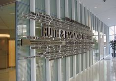 Donor Wall by Mark Jenkinson @ The Perelman Center for Advanced Medicine at Penn Medicine, by Rafael Vinoly and Associates.