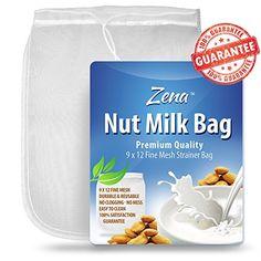 nice New Zena Nut Milk Milk Bag - Reusable Multipurpose Fine Mesh Food Strainer - Recipe eBook Included - Kitchen Hacks