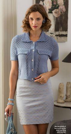 Вязаная кофточка спицами с бисером Rue de Rivoli -  Модное вязание