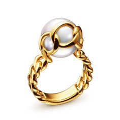 From our MGTasaki Stretched collection 18ct YG and 12mm pearl ring #melaniegeorgacopoulos #mgtasaki